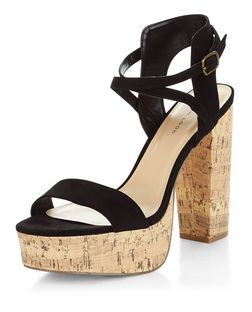 Black Suedette Cross Strap Contrast Cork Platform Sandals  | New Look