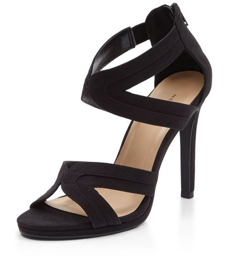 Black Suedette Multi Strap High Heels  | New Look