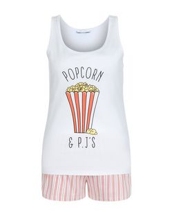 Teens Coral Popcorn Print Pyjama Set | New Look