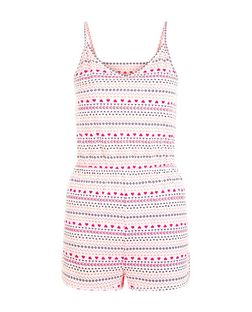 Teens Multicoloured Fairisle Print V Neck Playsuit | New Look