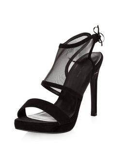 Black Suedette Mesh Strap Tie Back Heels  | New Look