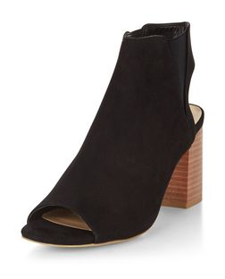 Black Suedette Peeptoe Block Heels | New Look