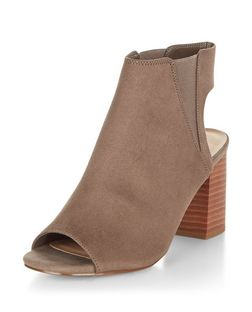 Brown Suedette Peeptoe Block Heels | New Look