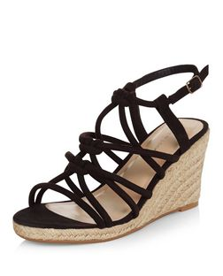 Black Suedette Knotted Strap Wedge Sandals  | New Look