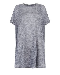 Blue Vanilla Navy Oversized Split Side Top  | New Look