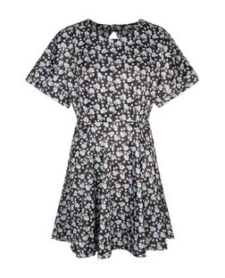 Blue Vanilla Black Floral Print Cut Out Back Skater Dress | New Look