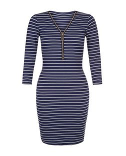 Blue Vanilla Blue Stripe Zip Front Dress | New Look