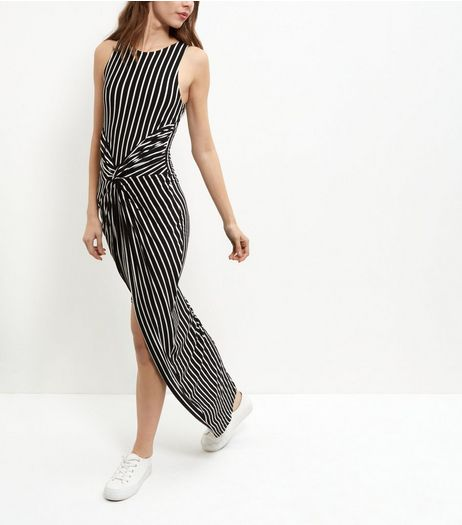 Blue Vanilla Black Stripe Twist Front Maxi Dress | New Look