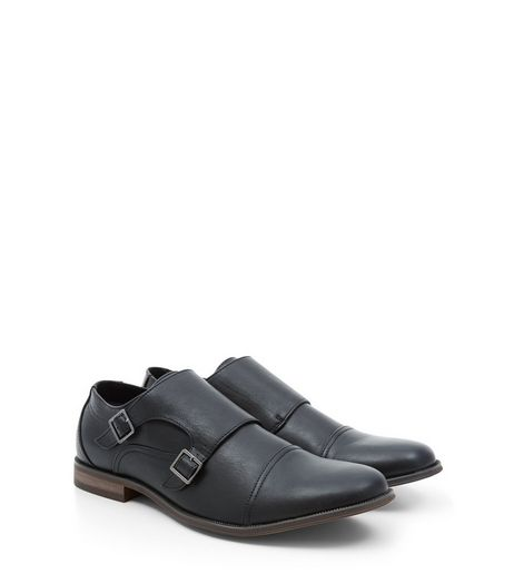 Black Leather-Look Monk Strap Shoes | New Look