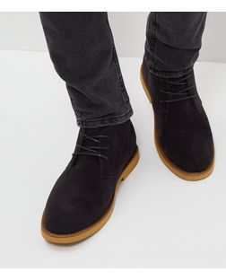 Navy Suedette Desert Boots | New Look