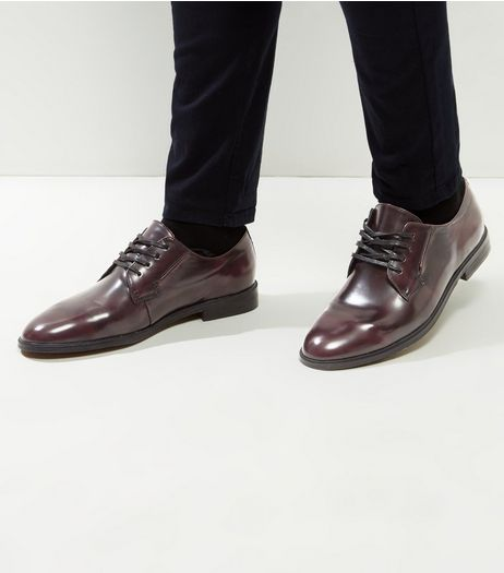 Dark Burgundy Lace Up Brogues | New Look