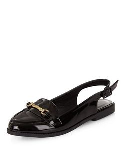 Black Metal Trim Sling Back Loafers | New Look