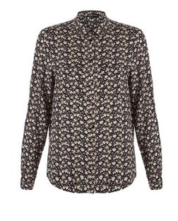 Cameo Rose Black Floral Print Long Sleeve Shirt | New Look