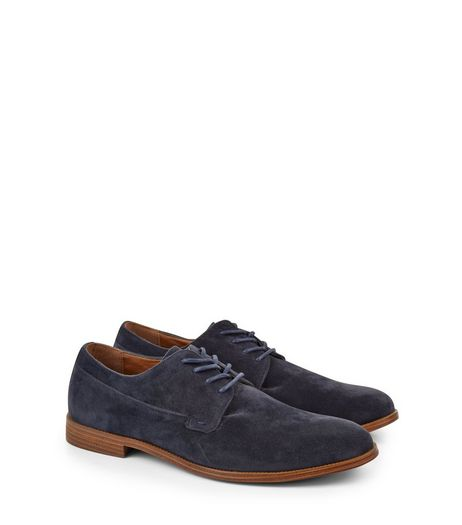 Navy Suedette Lace Up Derby Shoes | New Look