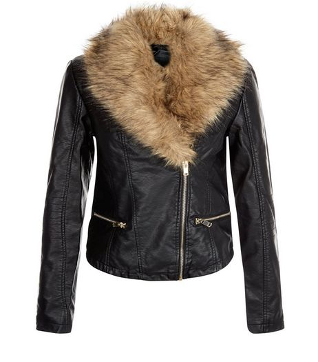 Black Leather-Look Faux Fur Collar Jacket | New Look