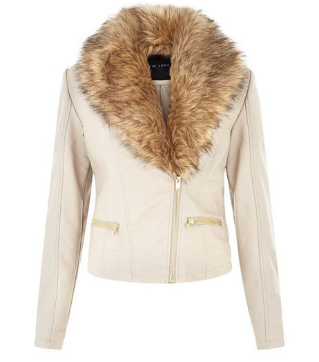 Cream Leather-Look Faux Fur Collar Jacket | New Look