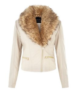 Mink Leather-Look Faux Fur Collar Jacket | New Look