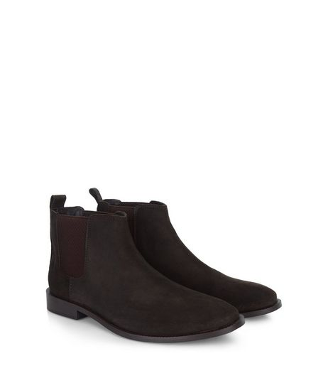 Dark Brown Suede Chelsea Boots  | New Look