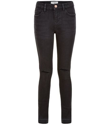 Teens Black Washed Drop Hem Skinny Jeans | New Look