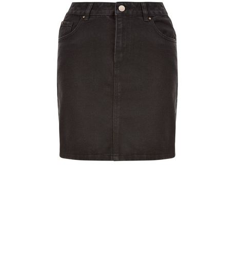 Teens Black A-Line Denim Skirt | New Look
