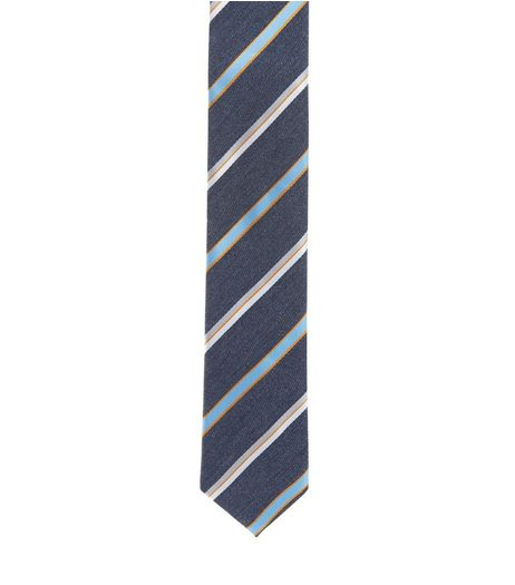 Blue Multi Stripe Tie  | New Look