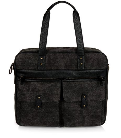 Black Canvas Panel Satchel | New Look