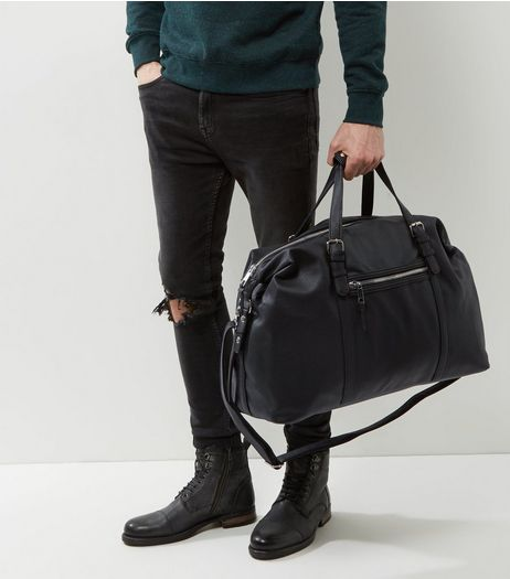 Black Leather-Look Holdall | New Look