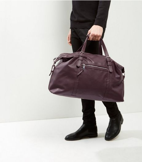 Burgundy Leather-Look Holdall | New Look