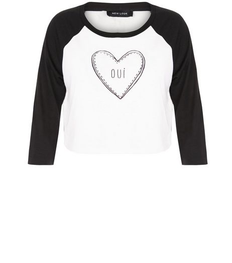 White Oui Heart Raglan Crop Top  | New Look