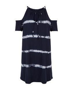 Blue Tie Dye Cold Shoulder Tunic Dress  | New Look