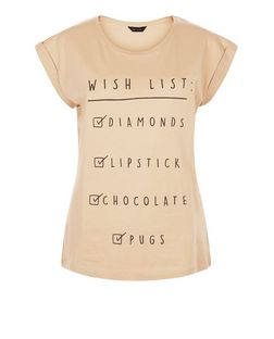 Camel Wish List Roll Sleeve T-Shirt  | New Look
