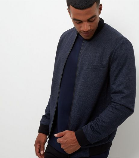 Navy Jersey Tailored Bomber Jacket  | New Look