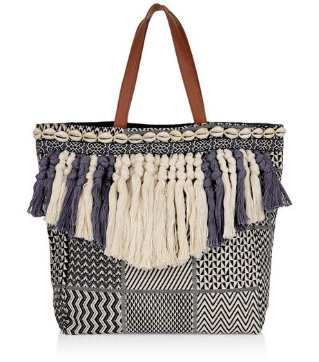 Blue Woven Tassel Front Shopper Bag  | New Look