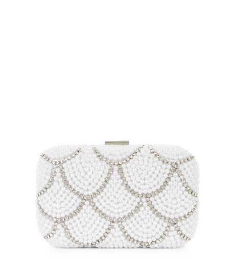 Cream Scallop Pearl Embellished Box Clutch  | New Look