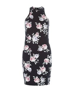 Black Floral Print Bodycon Dress | New Look