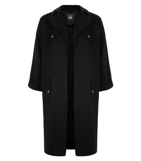 Teens Black Roll Sleeve Trench Coat | New Look