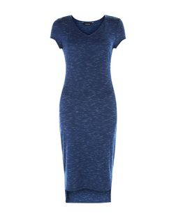 Navy Space Dye V Neck Cap Sleeve Midi Dress  | New Look