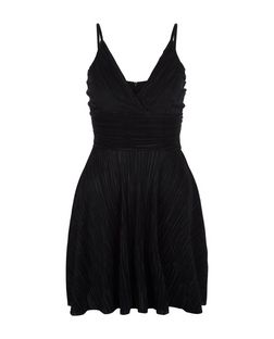 Black Pleated Strappy Skater Dress | New Look