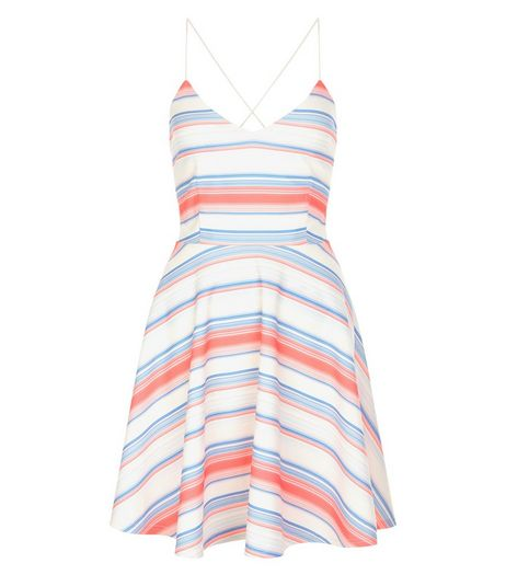 White Stripe V Neck Skater Dress | New Look