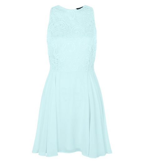 Mint Green Chiffon Lace Skater Dress  | New Look