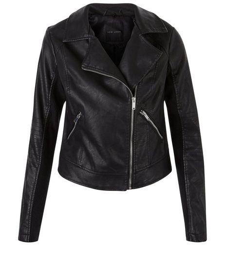 Black Leather-Look Double Zip Pocket Jacket | New Look