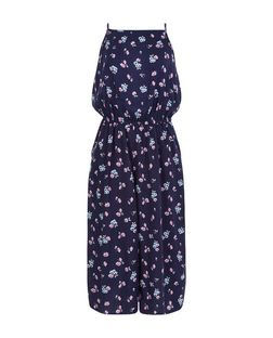 Teens Blue Ditsy Floral Culotte Jumpsuit | New Look
