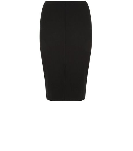 Curves Black Scuba Split Front Midi Skirt  | New Look