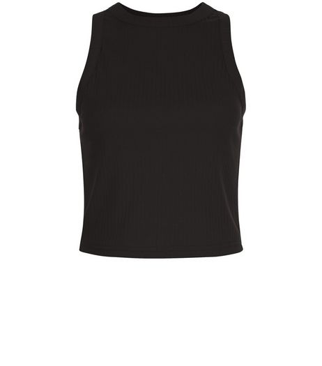 Black Ribbed High Neck Crop Top | New Look