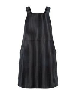 Plus Size Black Pinstripe Pinafore Dress | New Look