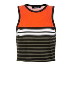 Orange Colour Block Stripe Crop Top  | New Look