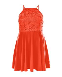 Plus Size Orange Lace High Neck Dress | New Look