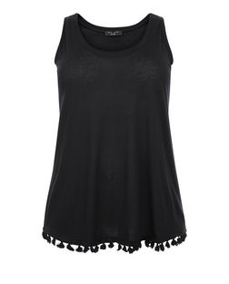 Curves Black Tassel Hem Shell Top | New Look