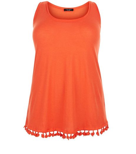Curves Orange Tassel Hem Shell Top | New Look