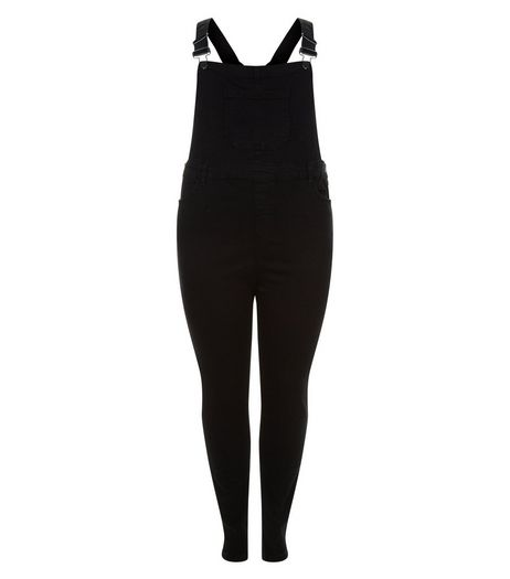 Curves Black Denim Dungarees  | New Look
